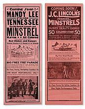 "(MUSIC--MINSTRELSY.) J. C. LINCOLN'S PREMIER MINSTRELS. World's Greatest Colored Show. Eugene ""Red"" Jones, Garden of Flowers * Mandee L"