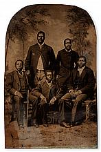 (PHOTOGRAPHY--EARLY AND CASED IMAGES.) Group of men, possibly fraternal, Masons or Odd Fellows.