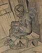 JOHN BIGGERS (1924 - 2001) Untitled (Seated Old Man)., John Anansa Thomas Biggers, Click for value