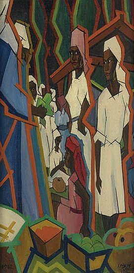 LOÏS MAILOU JONES (1905 - 1998) Marché de Kenscoff, Haiti.