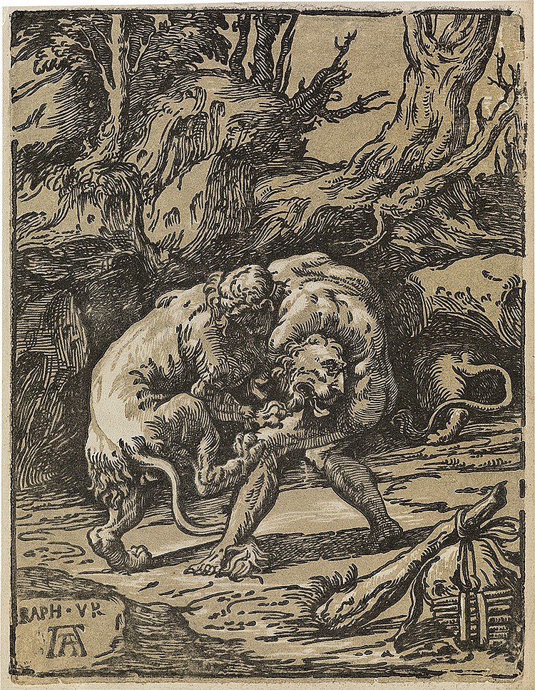 NICCOLÒ VICENTINO (after Raphael) Hercules and the Nemean Lion