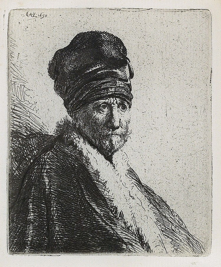 REMBRANDT VAN RIJN Bust of a Man Wearing a High Cap, Three-Quarters Right (The Artist's Father ?).