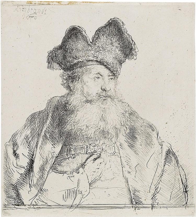 REMBRANDT VAN RIJN Old Man with a Divided Fur Cap.