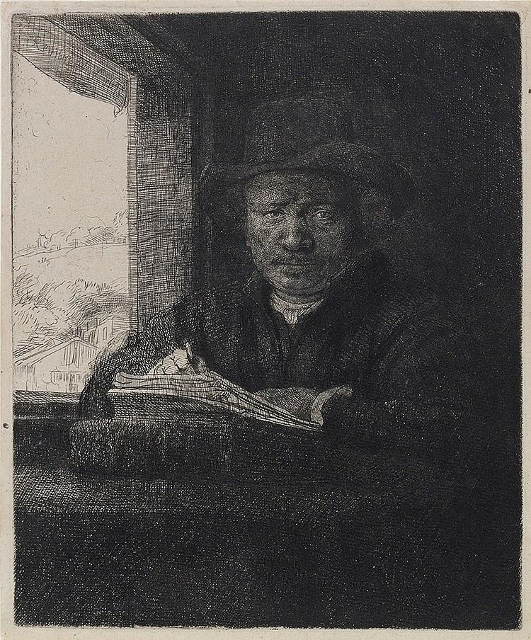 REMBRANDT VAN RIJN Self Portrait Drawing at a Window.