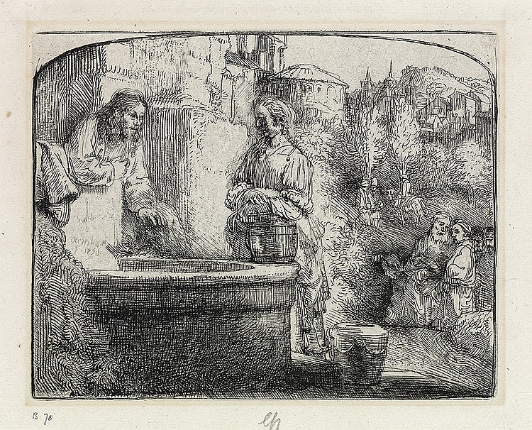 REMBRANDT VAN RIJN Christ and the Woman of Samaria: An Arched Print.
