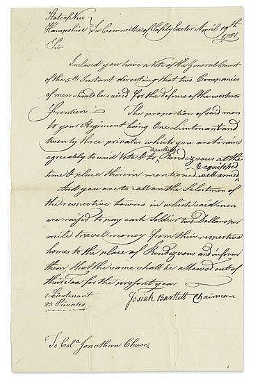 BARTLETT, JOSIAH. Letter Signed as Chairman of the Committee of Safety,