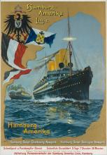 DESIGNER UNKNOWN. HAMBURG - AMERIKA LINIE / [DEUTSCHLAND]. Circa 1900. 38x26 inches, 96x68 cm. Muhlmeister & Johler, Hamburg.