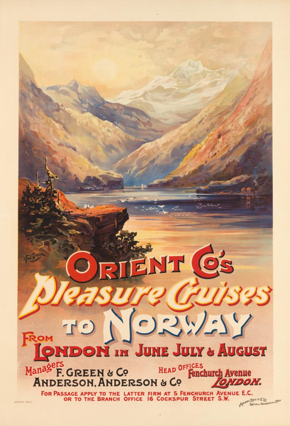 FRED SIMPSON (DATES UNKNOWN). ORIENT CO'S PLEASURE CRUISES TO NORWAY. Circa 1898. 39x27 inches, 101x68 cm. Andrew Reid & Co. Ltd., New