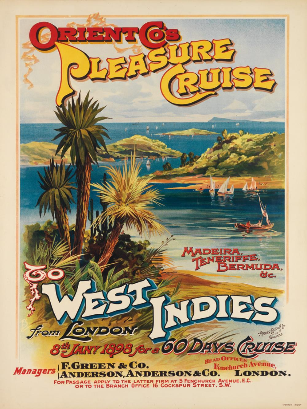 FRED SIMPSON (DATES UNKNOWN). ORIENT CO'S PLEASURE CRUISE TO WEST INDIES. 1899. 39x30 inches, 101x76 cm. Andrew Reid & Co. Ltd., Newca