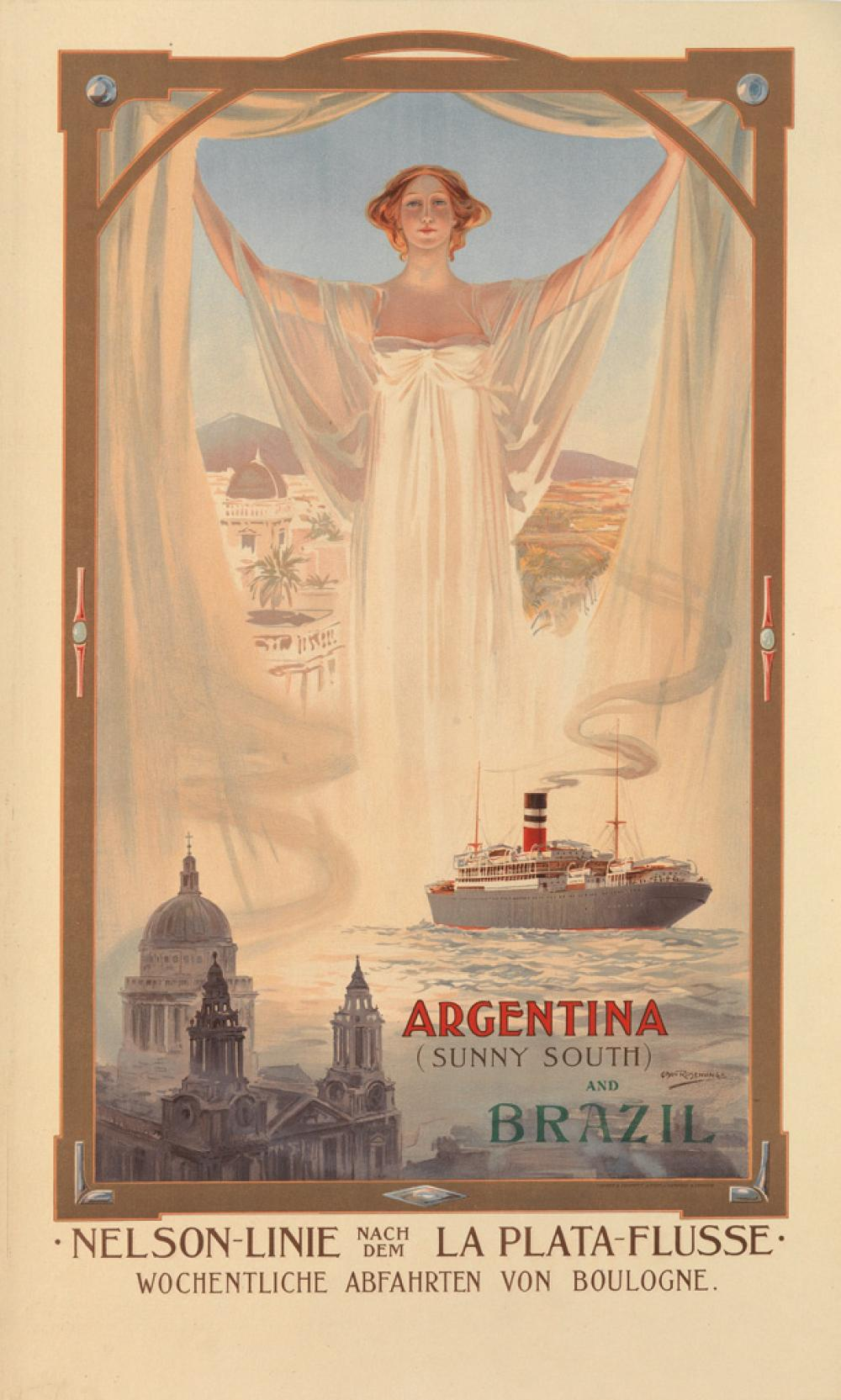ODIN ROSENVINGE (1880-1957). ARGENTINA (SUNNY SOUTH) AND BRAZIL. Circa 1910. 33x20 inches, 84x50 cm. Turner & Dunnett, Liverpool.