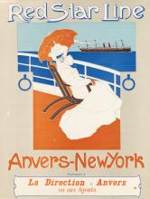 VICTOR CRETEN (1878-1966). RED STAR LINE / ANVERS - NEW YORK. Circa 1900. 30x23 inches, 76x59 cm. J. Goffin Fils, Brussels.
