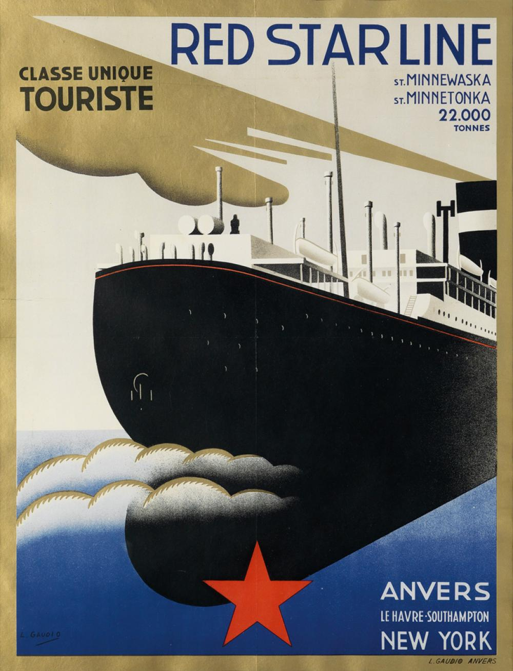 DESIGNER UNKNOWN. RED STAR LINE / CLASSE UNIQUE TOURISTE. Circa 1932. 25x19 inches, 64x164 cm. L. Gaudio, Anvers.