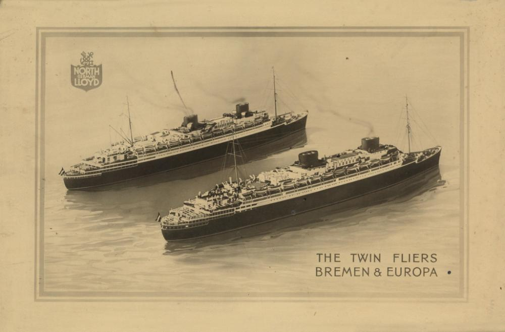DESIGNERS UNKNOWN. [OCEAN LINER PORTRAITS.] Two photographs. Circa 1920s. Sizes vary.