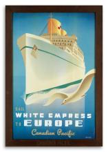 ROGER COUILLARD (1910-1999). SAIL WHITE EMPRESS TO EUROPE / CANADIAN PACIFIC. 1950. 35x23 inches, 90x59 cm.