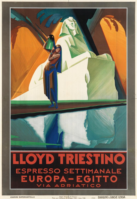 GIUSEPPE RICCOBALDI (1887-1976). LLOYD TRIESTINO / EUROPA - EGITTO. 1930. 39x27 inches, 99x68 cm. Barabino & Graeve, Genova.