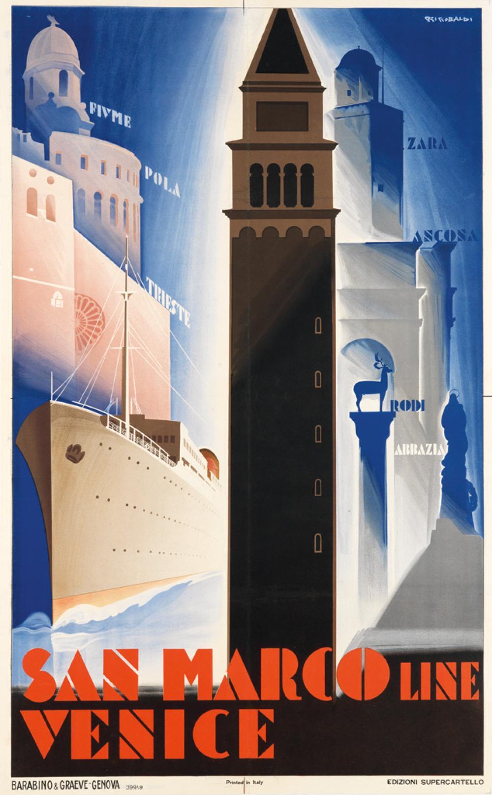 GIUSEPPE RICCOBALDI (1887-1976). SAN MARCO LINE / VENICE. Circa 1930. 39x24 inches, 99x61 cm. Barabino & Graeve, Genova.