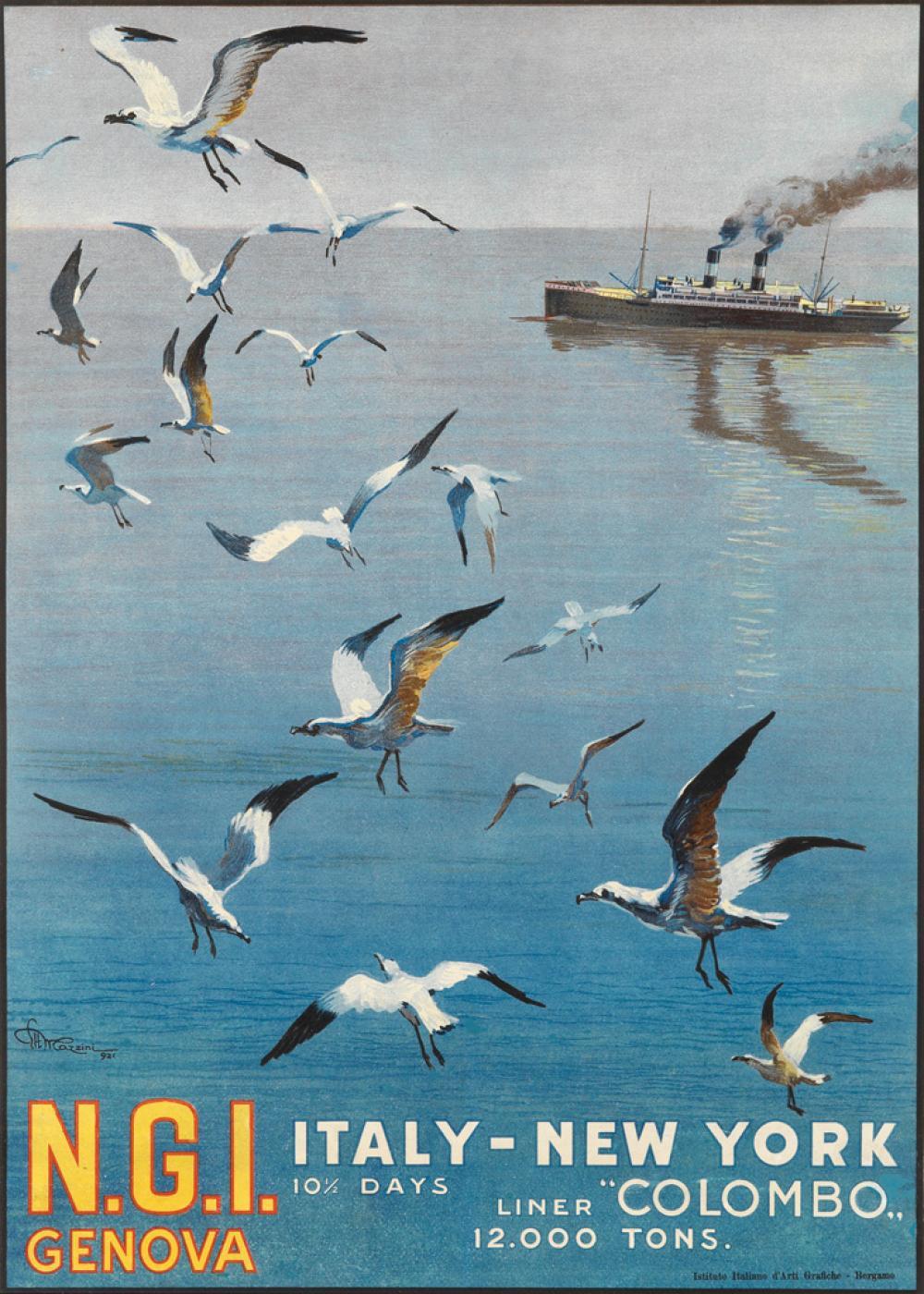 ETTORE MAZZINI (1891-1960). N.G.I. GENOVA / ITALY - NEW YORK. 1921. 26x18 inches, 66x47 cm. Istituto Italiano d'Arti Orafiche, Bergamo