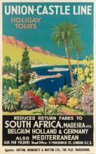 JAMES GREIG (1861-1941). UNION - CASTLE LINE / HOLIDAY TOURS. 39x25 inches, 101x63 cm.
