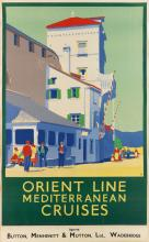K.B. (MONOGRAM UNKNOWN). ORIENT LINE / MEDITERRANEAN CRUISES. 39x24 inches, 101x63 cm.