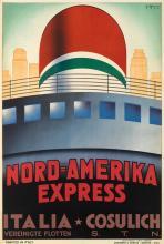 GIOVANNI PATRONE (1904-1963). NORD - AMERIKA EXPRESS / ITALIA * COSULICH. 1934. 37x25 inches, 94x63 cm. Barabino & Graeve, Genova.