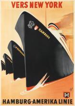 ALBERT FÜSS (1898-1969). VERS NEW YORK / HAMBURG - AMERIKA LINIE. Circa 1930. 33x23 inches, 83x59 cm.