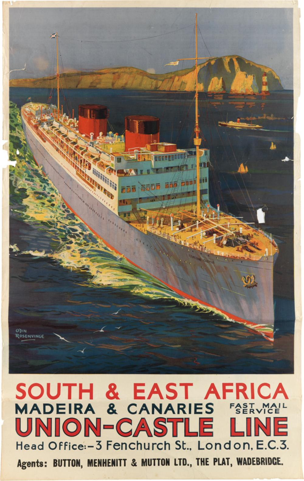 ODIN ROSENVINGE (1880-1957). SOUTH & EAST AFRICA / UNION - CASTLE LINE. Circa 1930s. 39x25 inches, 101x63 cm.