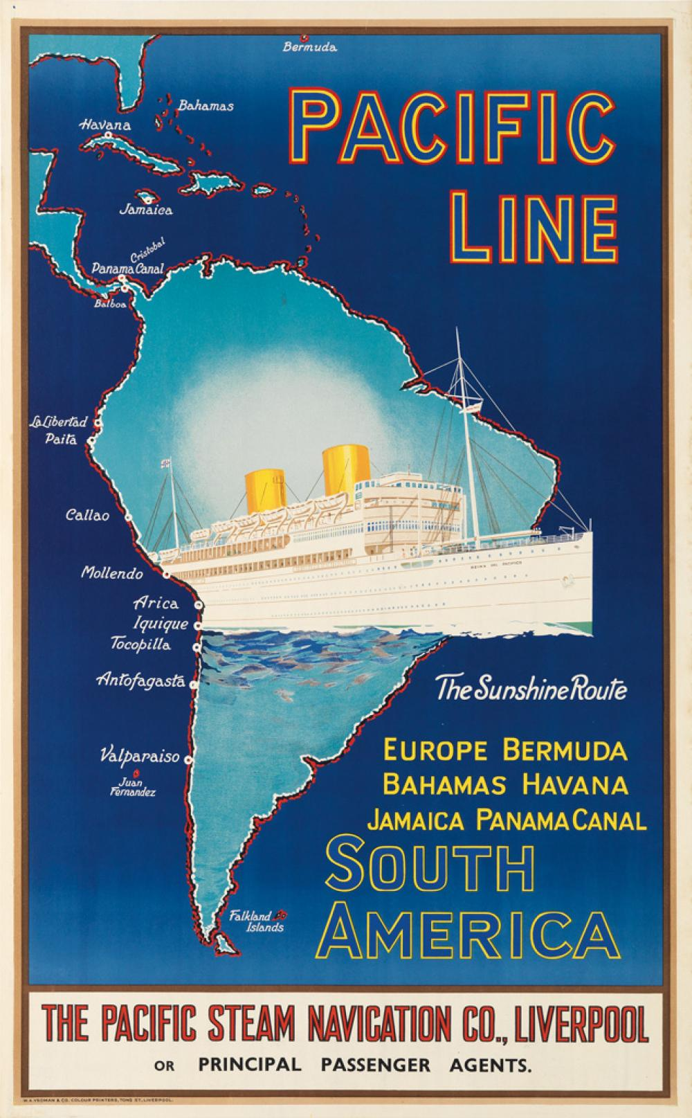 DESIGNER UNKNOWN. PACIFIC LINE / SOUTH AMERICA. Circa 1930s. 40x25 inches, 101x63 cm. W.A. Yeoman & Co., Liverpool.
