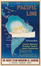 DESIGNER UNKNOWN. PACIFIC LINE / SOUTH AMERICA. Circa 1930s. 40x25 inches, 101x63 cm. W.A. Yeoman & Co., Liverpool.