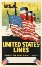 DESIGNER UNKNOWN. UNITED STATES LINES / TO U.S.A. Circa 1930. 40x25 inches, 102x63 cm. Dorland Advertising Ltd., London.