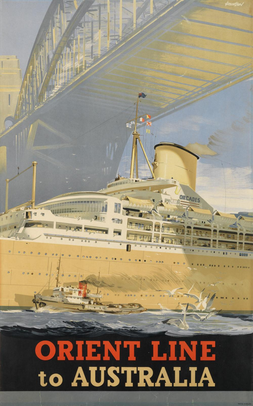 JOHNSTON (DATES UNKNOWN). ORIENT LINE TO AUSTRALIA. 1948. 40x25 inches, 101x63 cm.
