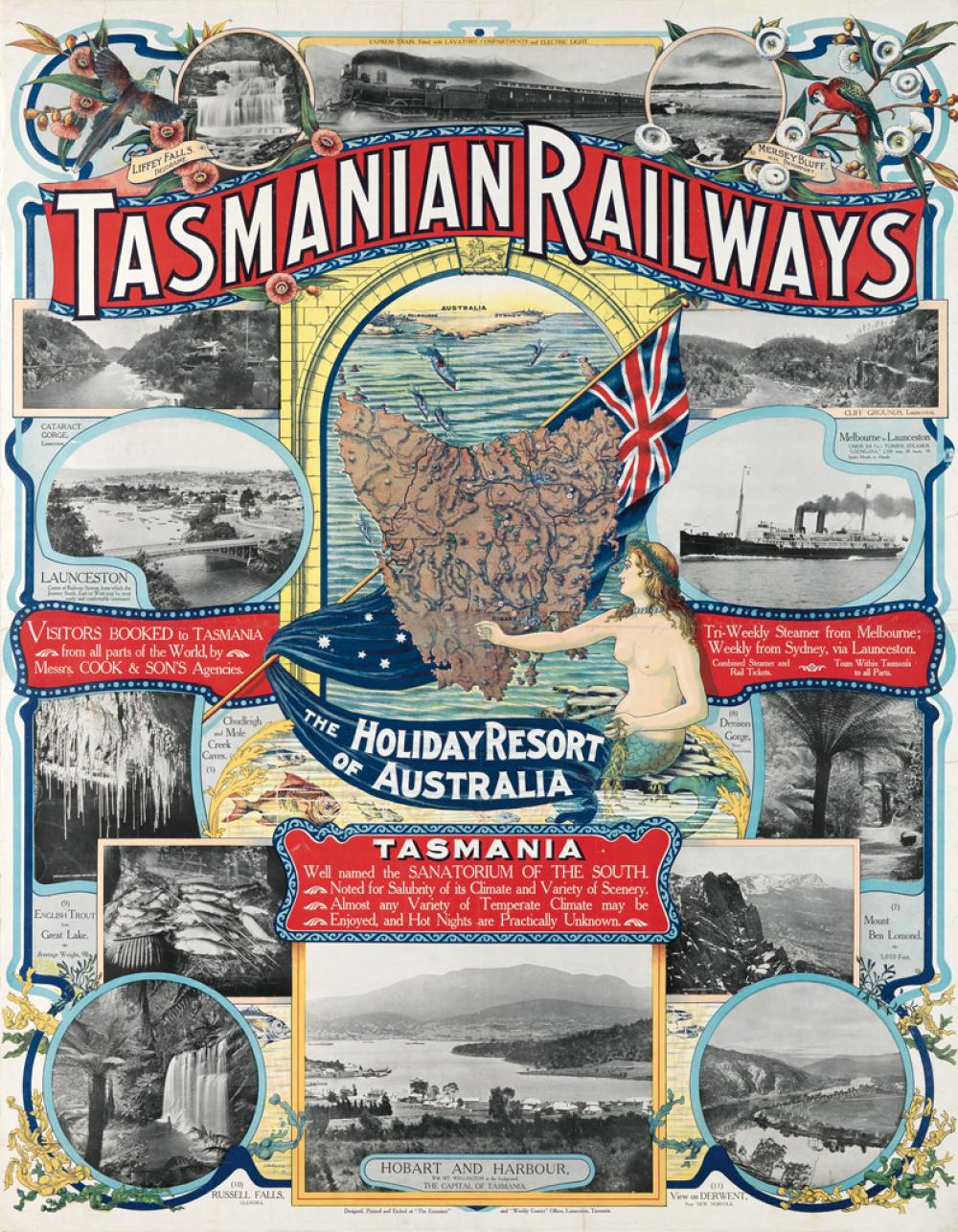 J.M. PROCTOR (DATES UNKNOWN). TASMANIAN RAILWAYS / THE HOLIDAY RESORT OF AUSTRALIA. 1905. 45x35 inches, 115x89 cm.