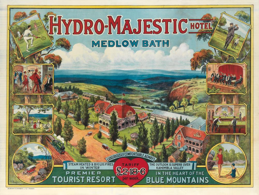 CHARLES HENRY HUNT (1857-1938). HYDRO - MAJESTIC HOTEL / MEDLOW BATH. Circa 1920. 30x39 inches, 76x100 cm. Bloxham & Chambers Ltd., Syd