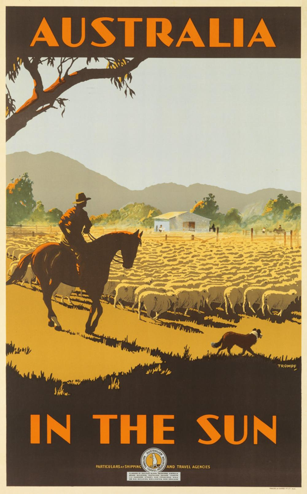 PERCIVAL ALBERT (PERCY) TROMPF (1902-1964). AUSTRALIA IN THE SUN. Circa 1935. 39x25 inches, 101x63 cm. Troedel & Cooper Pty. Ltd., Melb