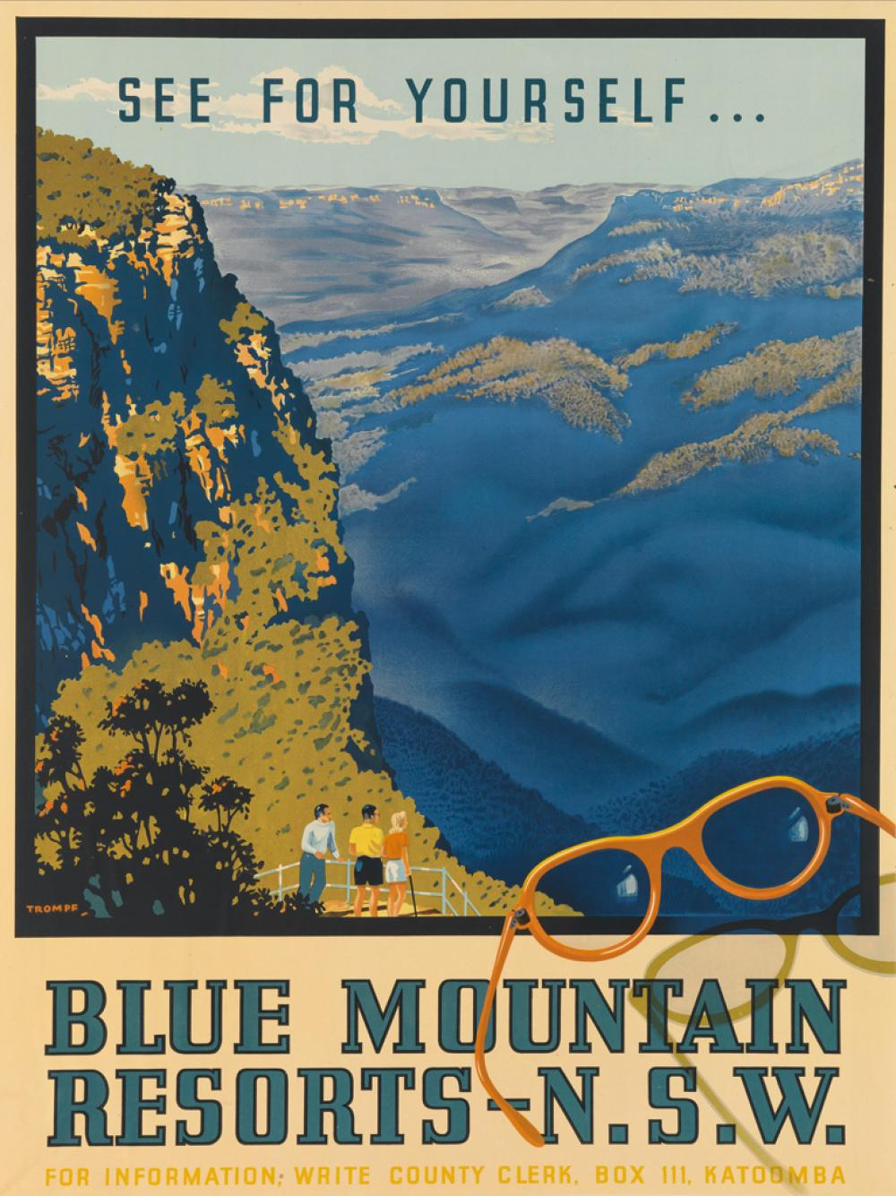PERCIVAL ALBERT (PERCY) TROMPF (1902-1964). BLUE MOUNTAIN RESORTS - N.S.W. 1946. 39x28 inches, 100x73 cm.