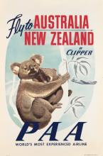 DESIGNER UNKNOWN. FLY TO AUSTRALIA / NEW ZEALAND BY CLIPPER / PAA. Circa 1950s. 42x27 inches, 107x70 cm.