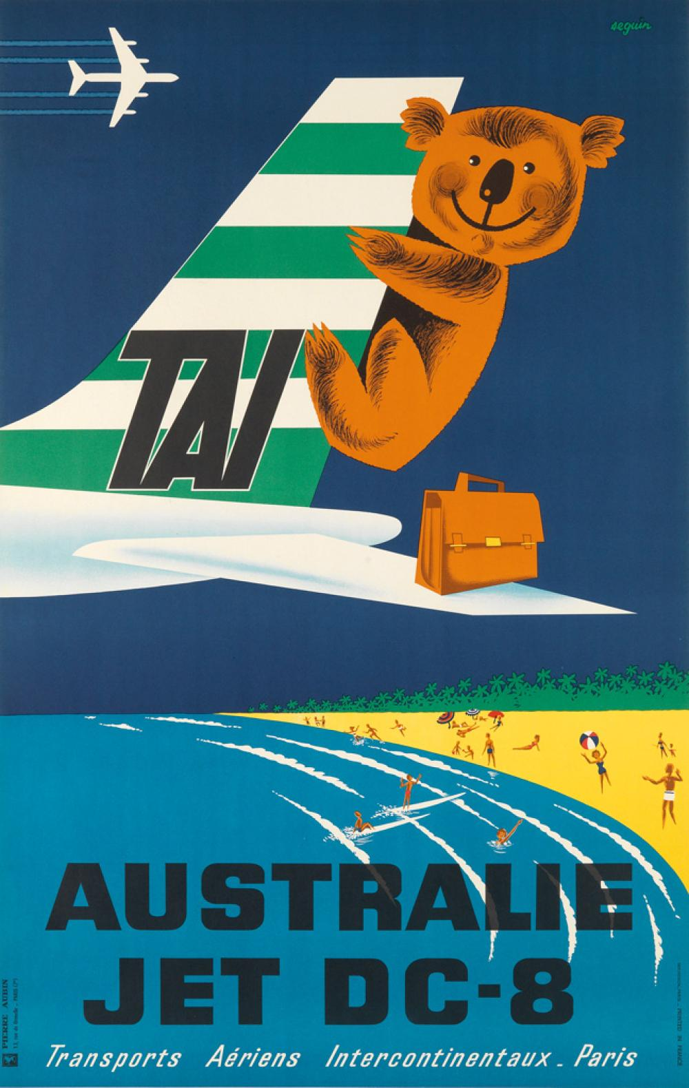 SEGUIN (DATES UNKNOWN). AUSTRALIE / JET DC - 8. Circa 1960s. 38x24 inches, 98x61 cm. Henon, Paris.