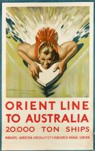 WILLIAM DOBELL (1899-1970). ORIENT LINE TO AUSTRALIA. Circa 1938. 40x25 inches, 101x63 cm.