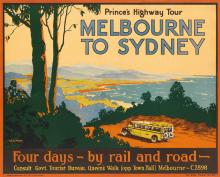 PERCIVAL ALBERT (PERCY) TROMPF (1902-1964). PRINCE'S HIGHWAY TOUR / MELBOURNE TO SYDNEY. 19x25 inches, 50x63 cm. Robt. Harding Pty. Lt