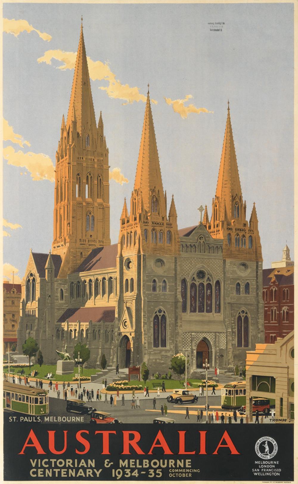PERCIVAL ALBERT (PERCY) TROMPF (1902-1964). ST. PAUL'S, MELBOURNE / AUSTRALIA. 1934. 39x24 inches, 100x62 cm. F.W. Niven, Melbourne.