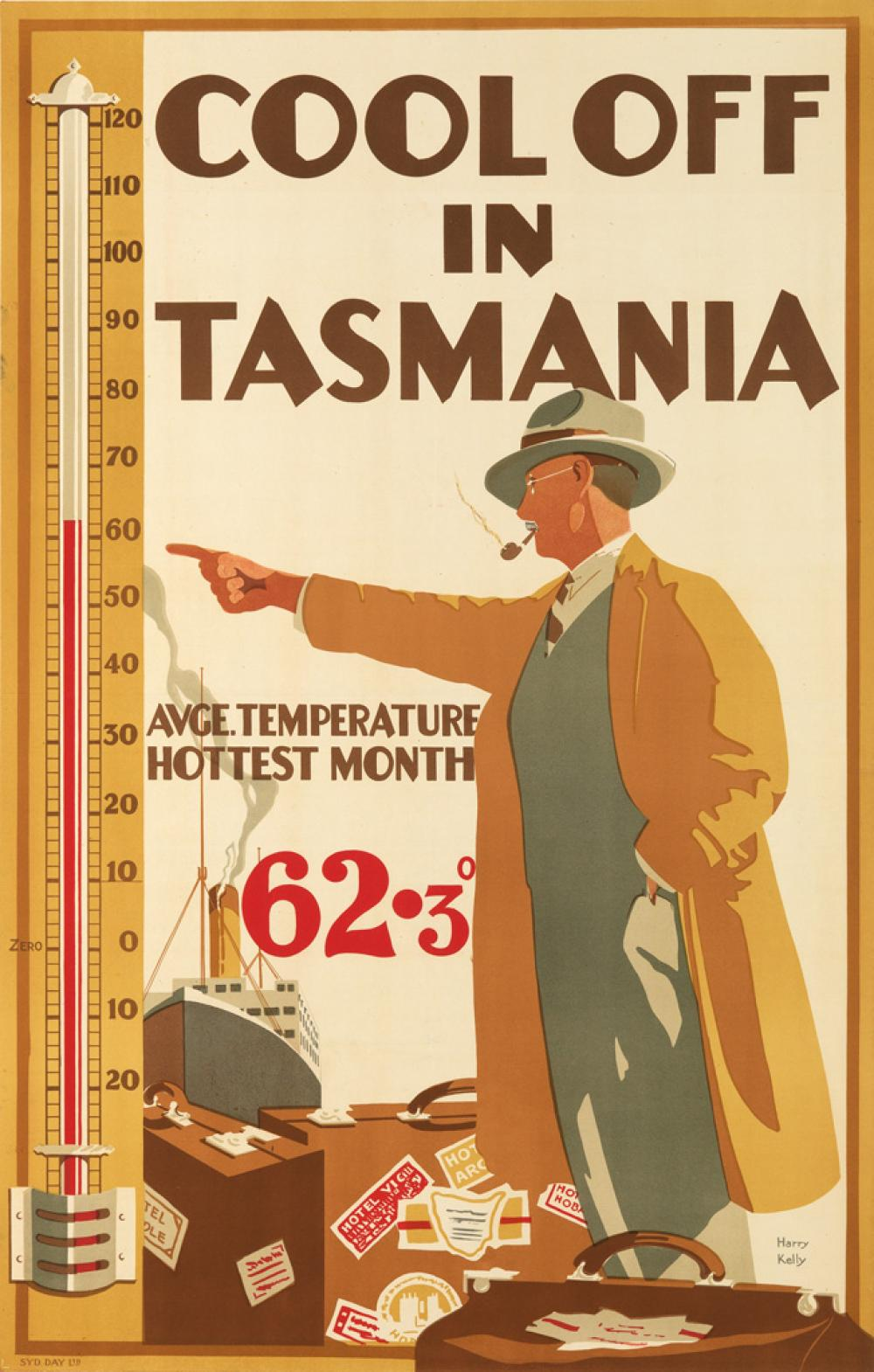 HARRY GARNET KELLY (1896-1967). COOL OFF IN TASMANIA. 1929. 39x25 inches, 101x63 cm. Syd. Day Ltd, [Sydney.]