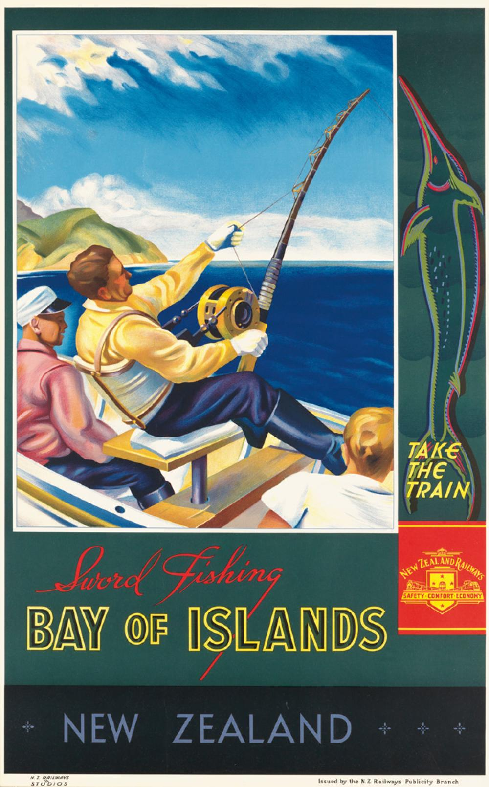 JOHN HOLMWOOD (1910-1987). NEW ZEALAND / BAY OF ISLANDS / SWORD FISHING. Circa 1930. 39x24 inches, 99x62 cm. N.Z. Railways Publicity Br