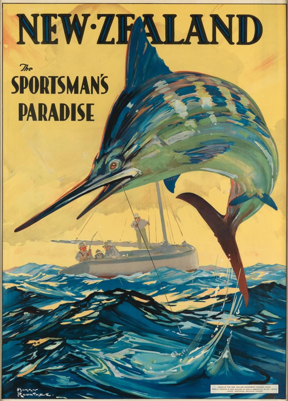 HARRY ROUNTREE (1878-1950). NEW ZEALAND / THE SPORTSMAN'S PARADISE. Circa 1920s. 36x26 inches, 91x66 cm. Coulls Somerville Wilkie Limi