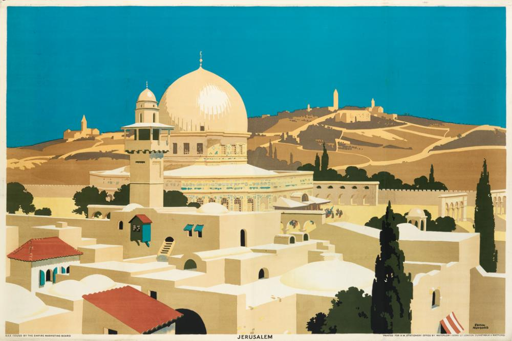 FRANK NEWBOULD (1887-1951). JERUSALEM. 1929. 40x60 inches, 101x152 cm. Waterlow & Sons Ltd., London.