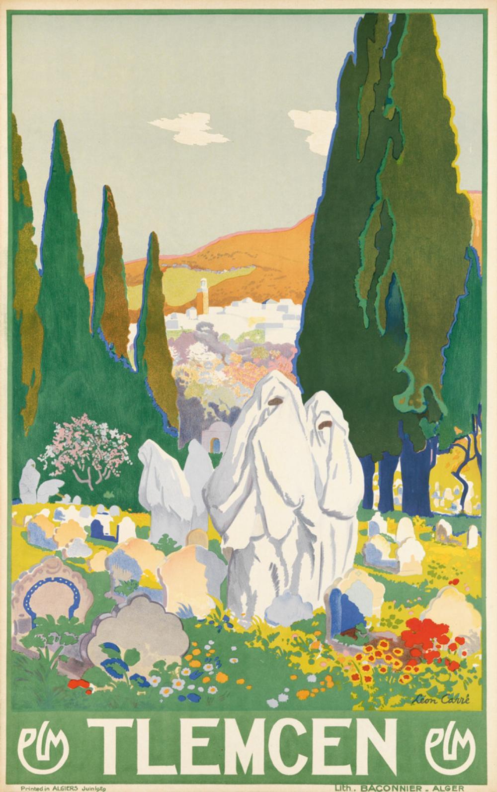 LÉON CARRÉ (1878-1942). TLEMCEN / PLM. 1929. 39x24 inches, 99x62 cm. Baconnier, Alger.