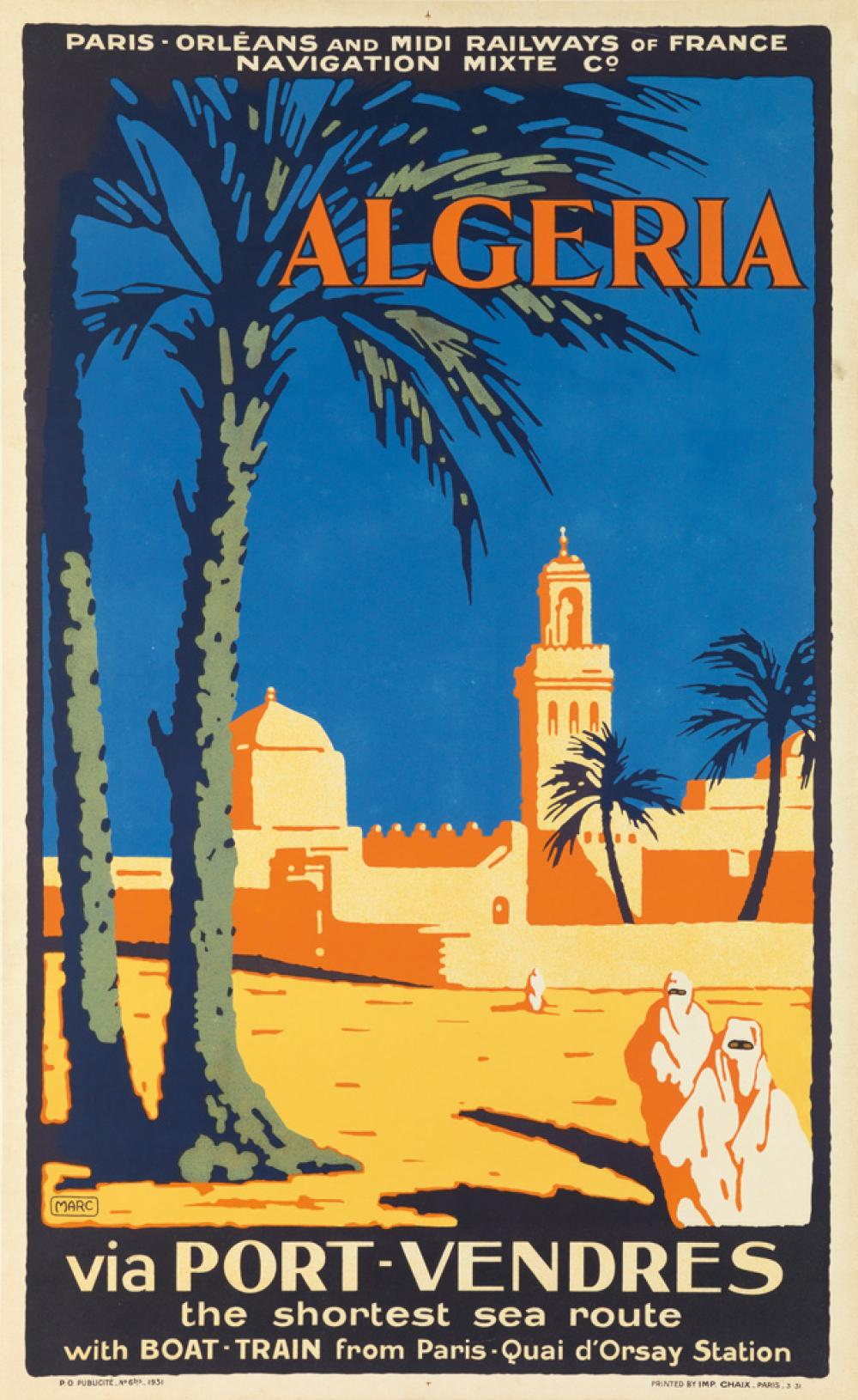 MARC (DATES UNKNOWN). ALGERIA VIA PORT - VENDRES. 1931. 39x24 inches, 100x62 cm. Chaix, Paris.