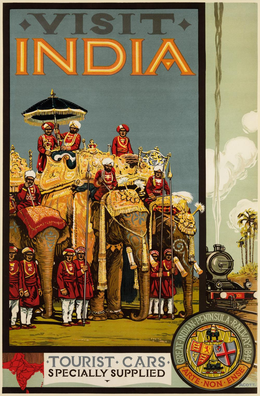 A.R. ACOTT (DATES UNKNOWN). VISIT INDIA. Circa 1920s. 39x25 inches, 101x65 cm.