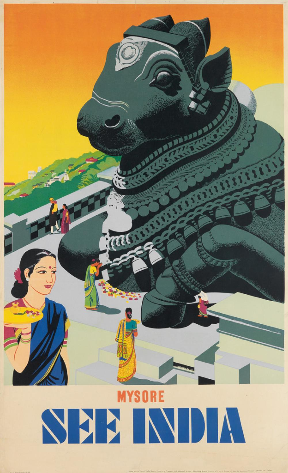 DESIGNER UNKNOWN. SEE INDIA / MYSORE. Circa 1950s. 40x24 inches, 101x61 cm. Associated Printers, Madras.