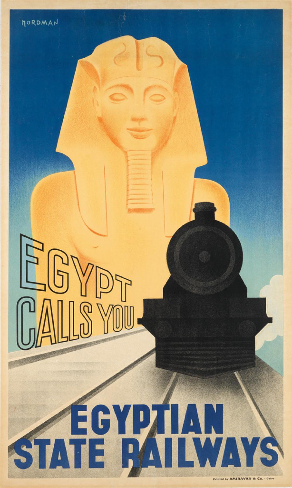 NORDMAN (DATES UNKNOWN). EGYPT CALLS YOU / EGYPTIAN STATE RAILWAYS. Circa 1930. 39x23 inches, 100x59 cm. Amirayan & Co., Cairo.