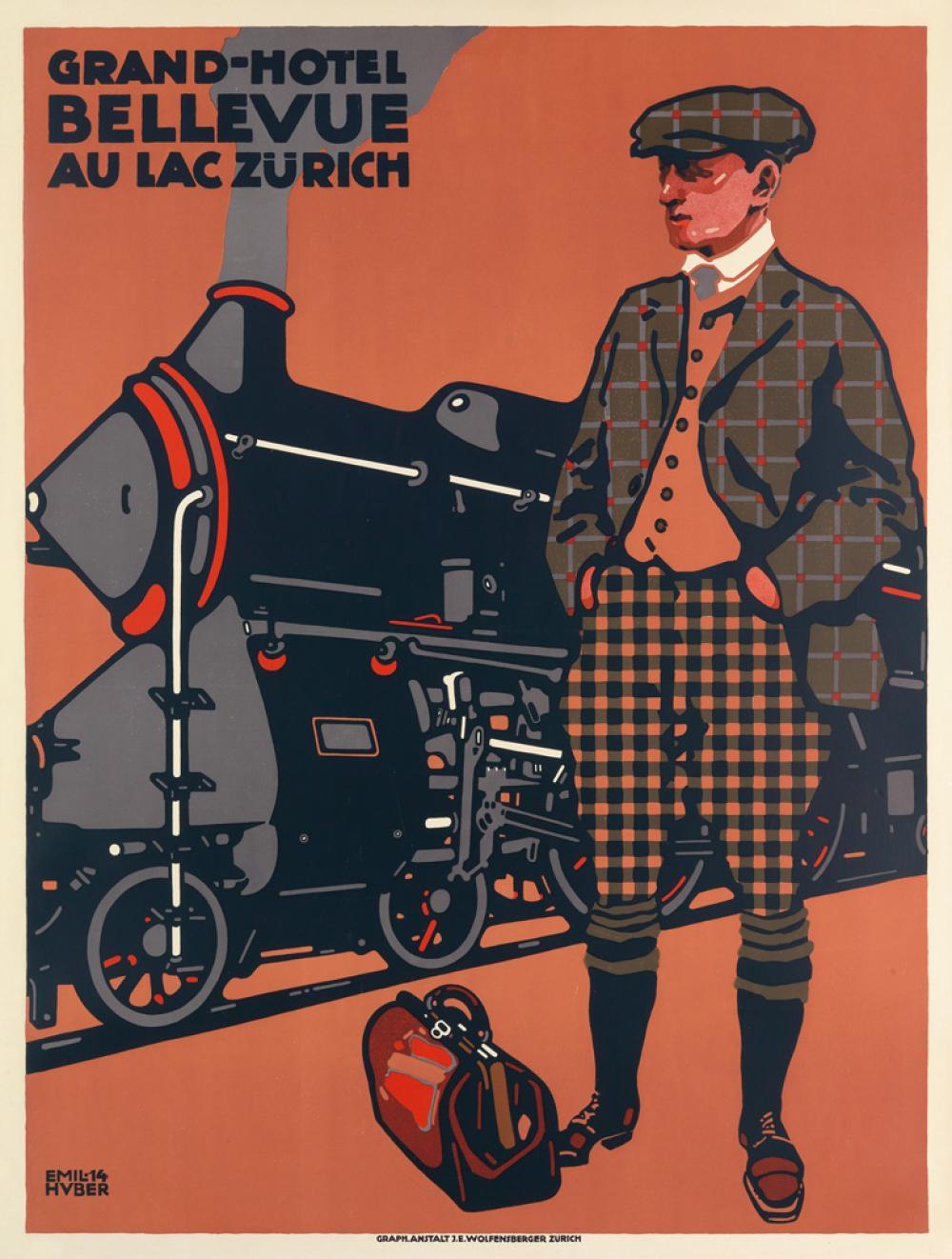 EMIL HUBER (1884-1943). GRAND - HOTEL BELLEVUE AU LAC ZÜRICH. 1914. 51x38 inches, 129x98 cm. J.E. Wolfensburger, Zurich.