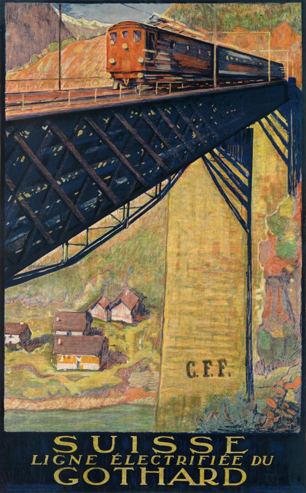 DANIELE BUZZI (1890-1974). SUISSE / GOTHARD. 1924. 39x24 inches, 99x62 cm. P. Attinger, Neuchatel.
